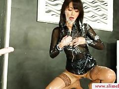 Cum drenched bukkake babe slimed tubes