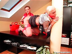 Riding dildo for sexy mistress in office tubes
