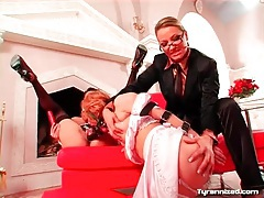 French maids fuck each other with face dildos tubes