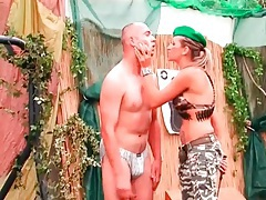 Drill sergeant girl abuses two naked guys tubes