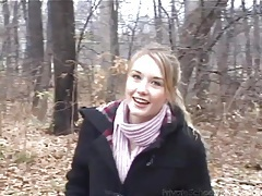Skinny small tits teen flashes in the woods tubes