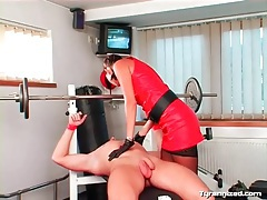 Facesitting mistress in sexy outfit tubes