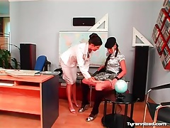 Schoolgirl in satin blouse submits to her teacher tubes