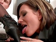 Ladies in leather tease the guy sitting solo tubes