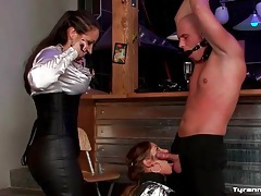 Satin mistress strapon fucks sexy girl from behind tubes