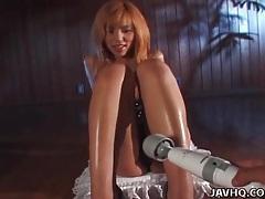 Kinky lingerie on busty beauty he toys tubes