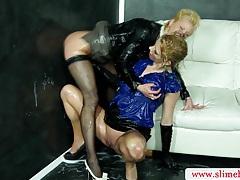 Hottest bukkake lesbians get cumshot tubes