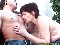 Built young guy fools around with horny milf tubes