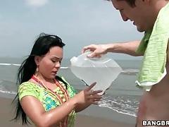 Big ass latina gives a titjob on the beach tubes