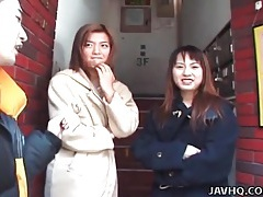 Japanese girls in coats flash in public tubes