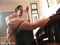Dominant talk from sexy girl smoking cigarette tubes