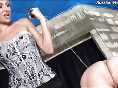 Naked guy spanked on the ass by a beauty tubes