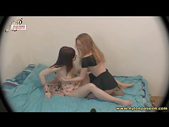 Skinny lesbian beauties in sheer pantyhose tubes