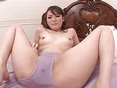 She squirts through her purple panties tubes