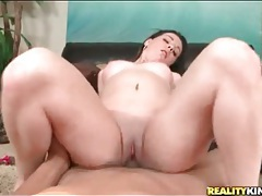 Pretty young lady sits shaved pussy on stiff cock tubes