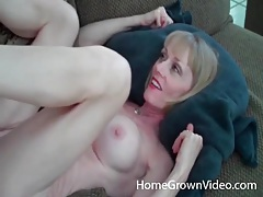Mature blonde takes his cock and load tubes