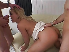 Two guys take turns with horny mature blonde tubes