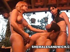 Carla renata & yris schimit - outdoor shemale domination tubes