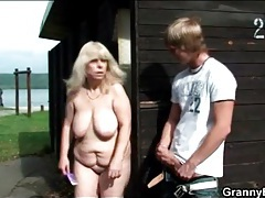 Fat old slut sucks his young dick in public tubes