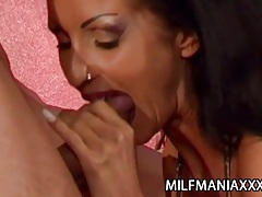 Yvonne - pierced pussy milf fucked by two stiff cocks tube