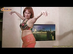 Busty drunk girl in bra does belly dance tubes