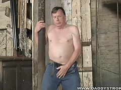 Fat daddy jerks his mature meat tubes