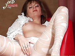 Ruffled blouse and sheer pantyhose on babe tubes