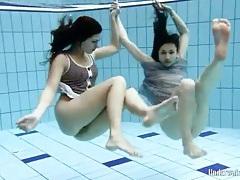Skinny brunette teens skinny dipping lustily tubes
