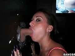 Alby rydes deepthroats cock at gloryhole tubes
