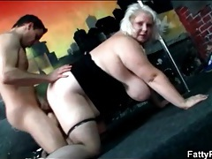 Fat blonde with huge tits does doggystyle fuck tubes