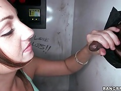 Girl sucks off two guys at the gloryhole tubes