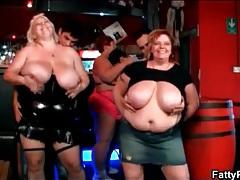 Dancing fat chicks make skinny guy strip for them tubes