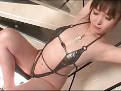 Shiny swimsuit is skimpy on japanese girl tubes