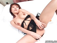Stripping her fishnets and masturbating tubes