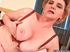Granny with big tits and hairy pussy fucks a dildo tubes