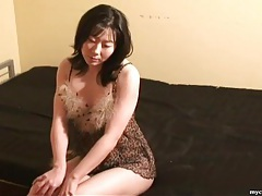 Leopard print lingerie on masturbating asian tubes