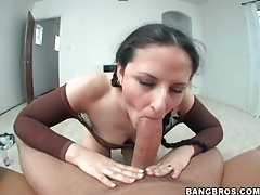 Caroline pierce sucks cock in braided pigtails tubes