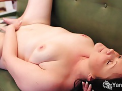 Brunette lexus fucking a blue toy on the couch tubes