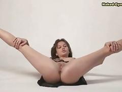 Shaved pussy and sheer skirt on hot brunette tubes