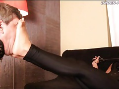 Tight pants and corset on mistress that abuses tubes
