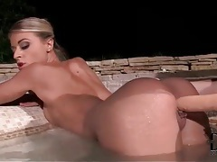 Beautiful lesbians dildo sex in the hot tub tubes
