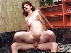 Hairy mature pussy fucked as she rides dick tubes