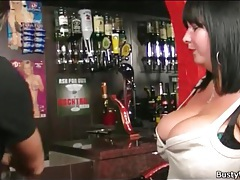 Seduction of a sexy fat girl in the bar tubes