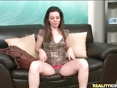 Slut in short dress masturbates pink pussy tubes