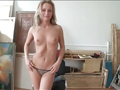 Blonde amanda blake strips to model her pussy tubes