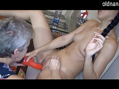 Lovely granny likes the taste of young pussy tubes