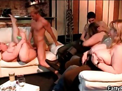 Fat chick fucked hardcore as her friends watch tubes
