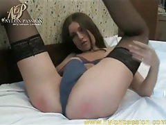 Skinny brunette marina masturbates in stockings tubes