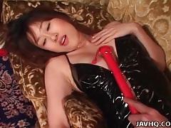 Kinky girl in black latex dress fingered lustily tubes