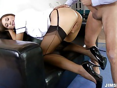 Brunette nurse gets fucked and jizzed tubes